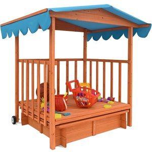Der Testsieger -Deuba Holz Sandkasten mit Spielveranda und Dach